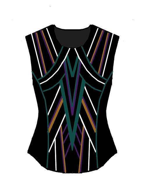 VEST Black - Purple - Teal - Moccasin Gold - White: Designer Code: HJRH