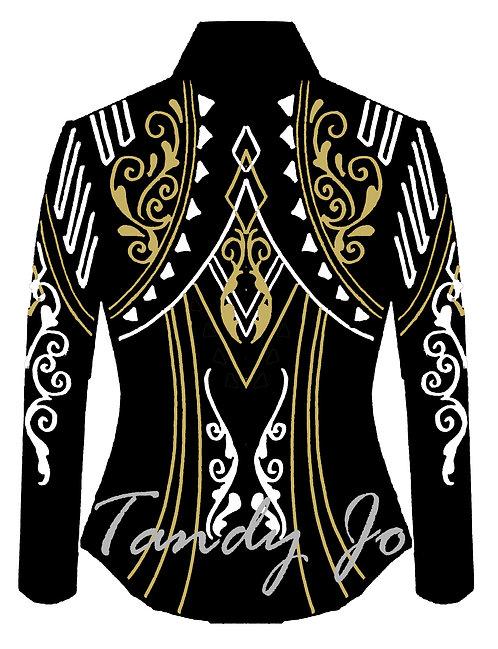 RESERVED FOR LYNETTE T. Black - White - Gold: Designer Code: FBWL