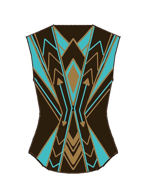 VEST Chocolate Brown - Turquoise - Camel: Designer Code: KTYQ