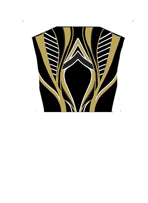 BOLERO Black - White - Charcoal - Gold: Designer code AABC