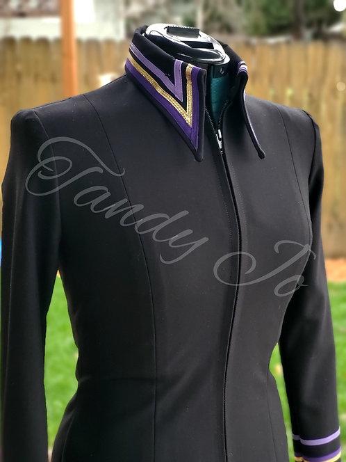 Classy stretch Horsemanship Day Shirt- Black/purple/lavender -Ready
