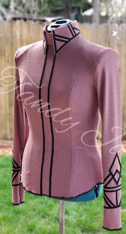 DIY SIMPLE CHIC Pink/rosey gold/black back zip top