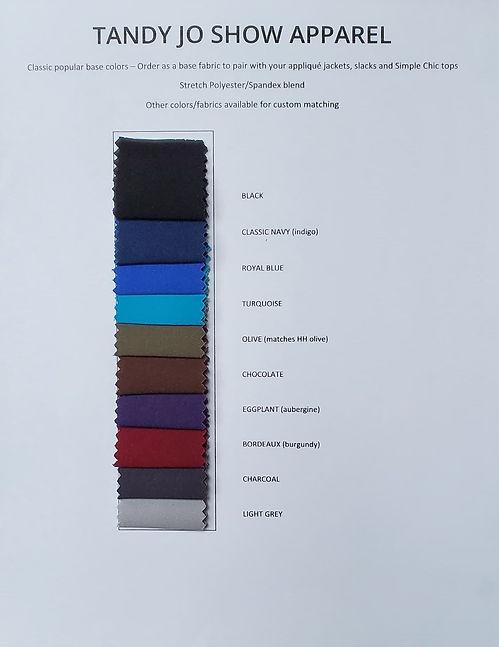 Base fabric sample colors