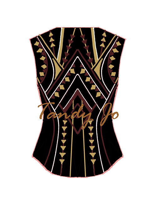 Black - White - Burgundy - Matte Gold VEST: Designer Code: NNNN