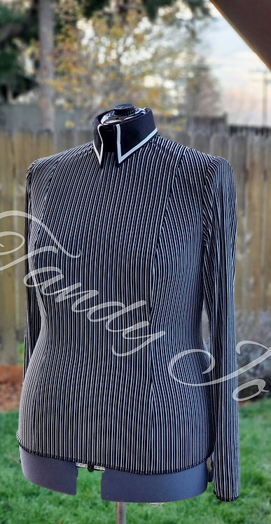 Velvet Striped knit top horsemanship day shirt - ready to crystal
