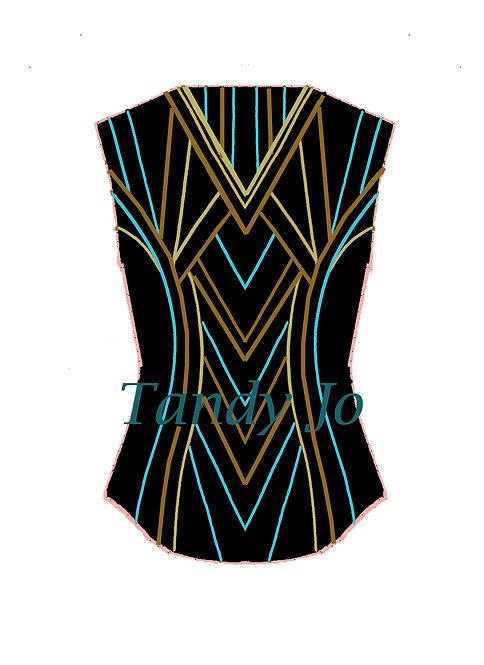 Black - Turquoise - Moccasin - Gold VEST: Designer Code: JUMR