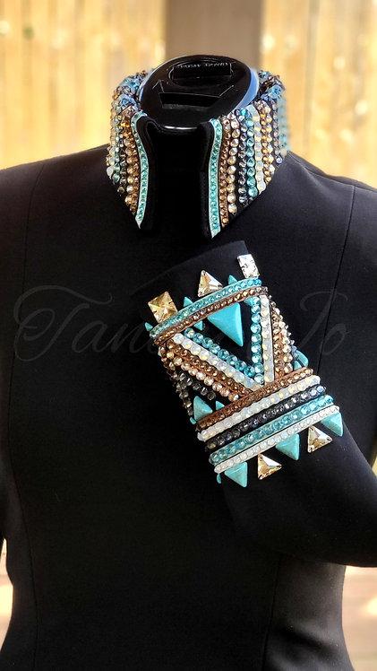Simple Chic Back Zip Turquoise Aqua Black Copper Sand