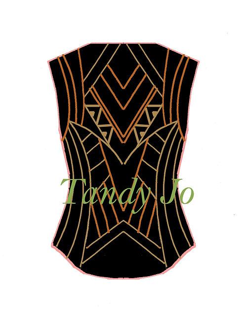 Black - Camel - Orange VEST: Designer Code: VOTM