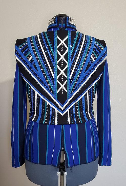 Royal green black bolero vest set