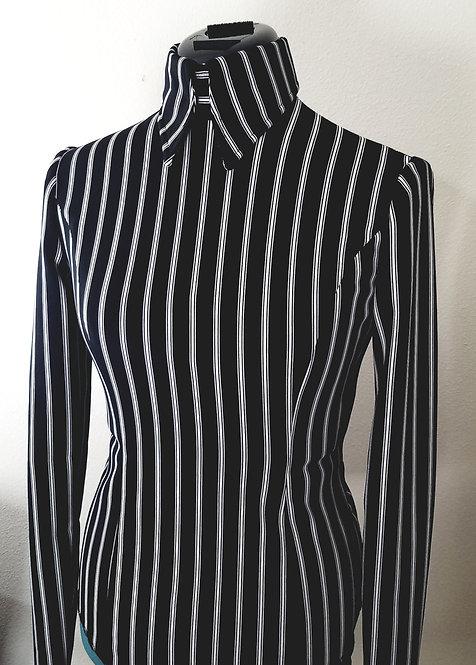 RESERVED Black White Pinstripe Back Zip Top