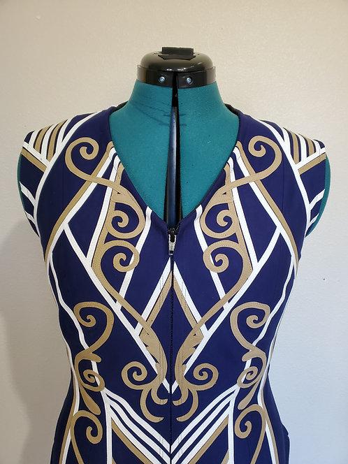 Sold custom navy gold white vest