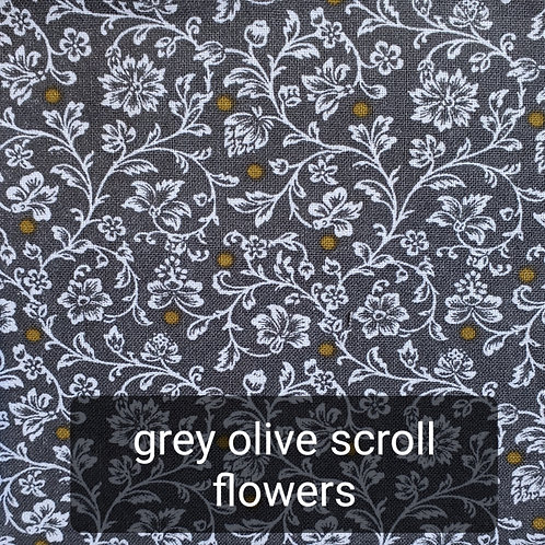 Face mask - grey olive scroll flowers