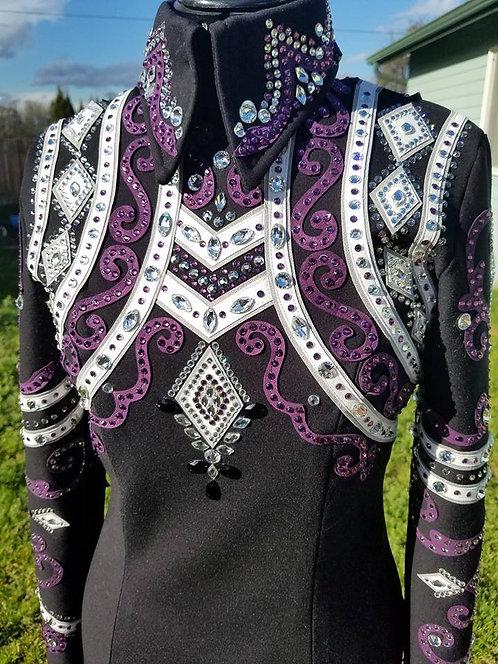 Purple Grey Black Horsemanship Top