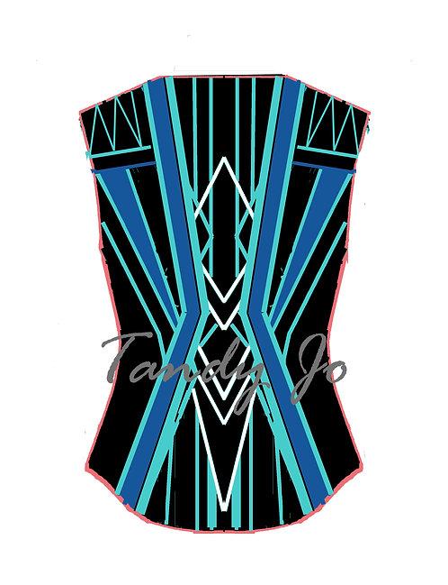 VEST Black - Aqua - Royal blue - White: Designer Code: VNRZ