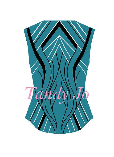 Turquoise - Black - White VEST: Designer Code: SLES