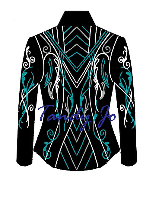 Black - Brilliant Teal  - Silver - White: Designer Code:KSRH