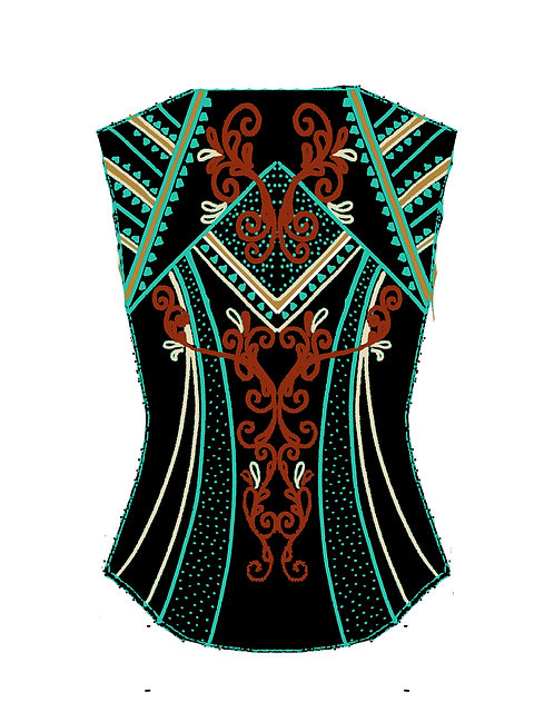 Mint/turquoise, rust and a brown/copper Vest