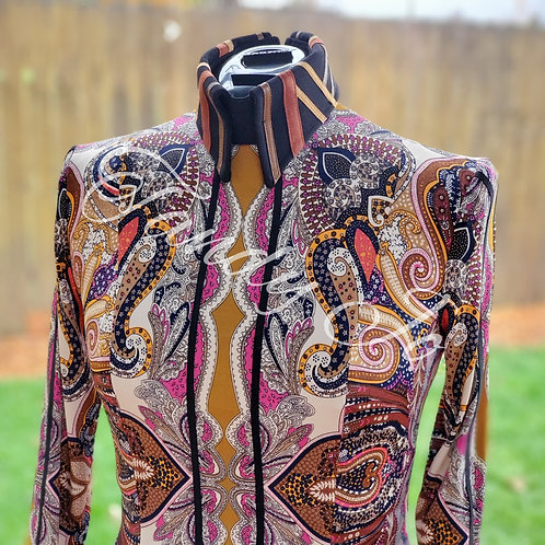 Neutral toned printed stretch Horsemanship Day Shirt -Ready to crystal