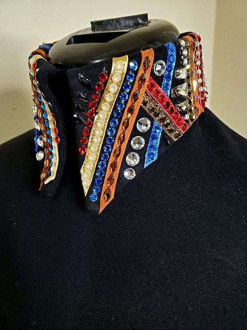 Red royal bronze rust solid HMS jacket embellished collar