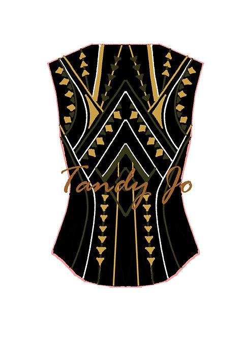 Black - White - Olive - Gold VEST: Designer Code: NNNN