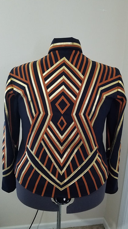 RESERVED navy rust gold jacket with slacks