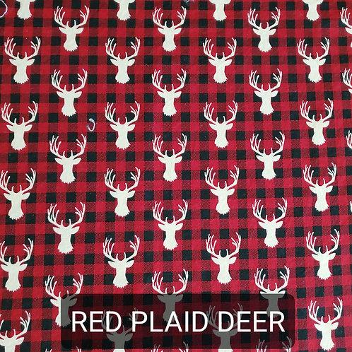 Face mask -Red Plaid Deer