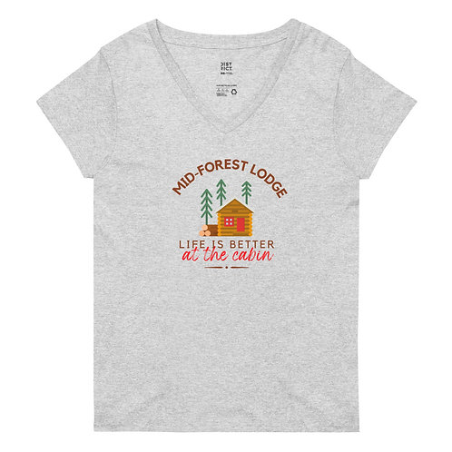 At the Cabin-Women's V-Neck Tee