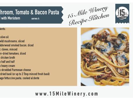 Mushroom, Tomato & Bacon Pasta with Meristem