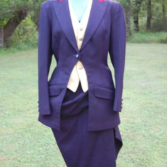 HA1001Midweight very dark navy wool twill habit (jacket, apron, false vest, breeches)