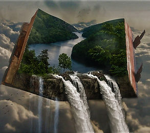 Fantasy Book With Waterfall