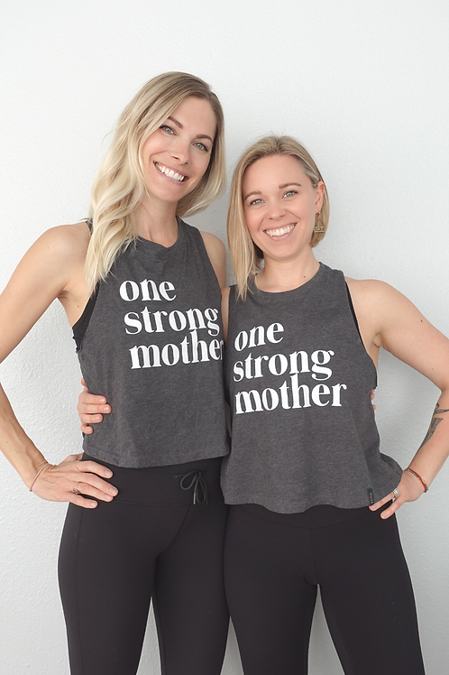 """""""One Strong Mother"""" Cropped Muscle Tank"""