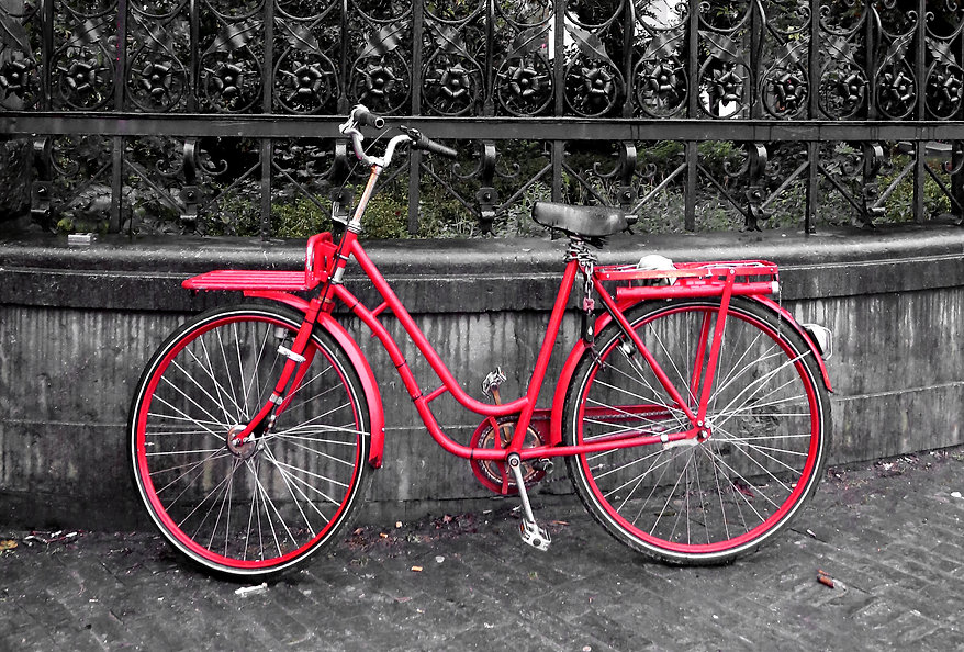 Red Bicycle in Amsterdam by Swancoat