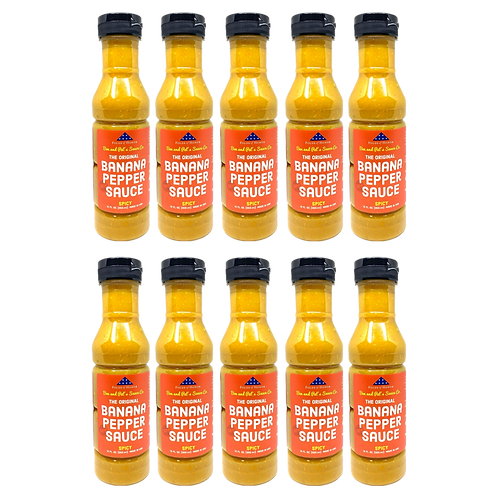 10-Pack Banana Pepper Sauce - Spicy Original (Shipping Included)