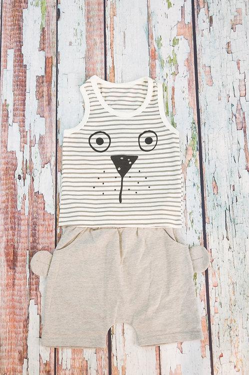 Bear Design Striped Tank and Shorts Set