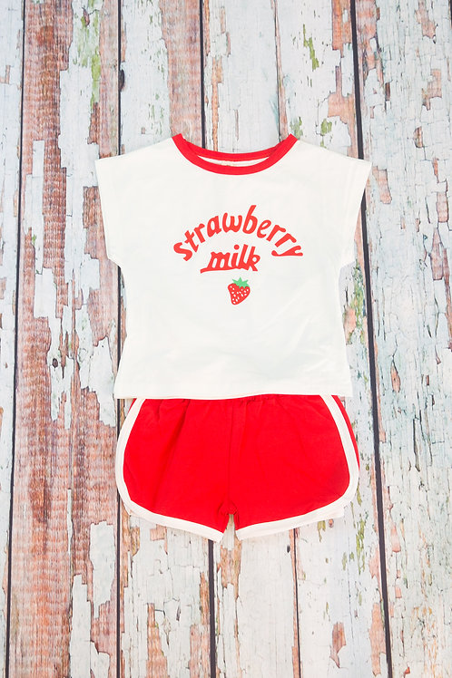 Lovely Strawberry Short Sleeve Outfit
