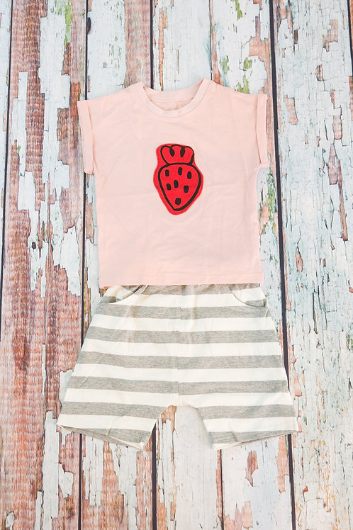 Cute Strawberry Short Sleeve Outfit