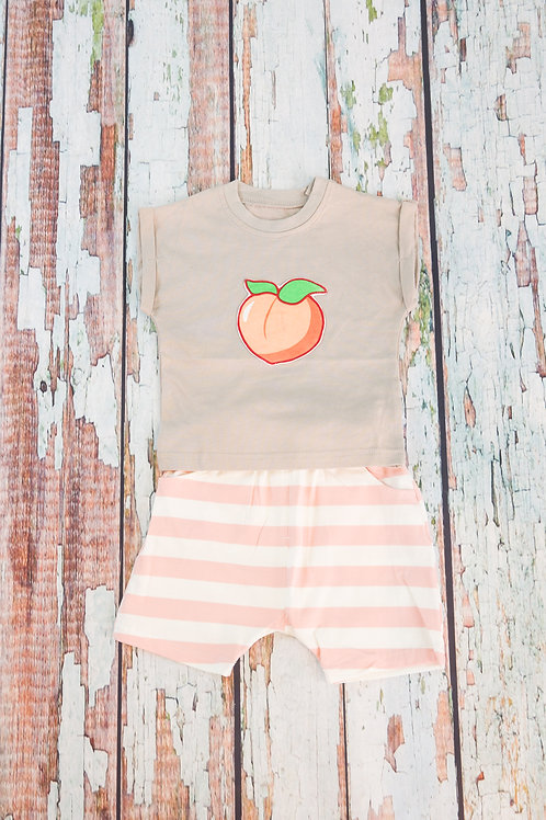 Fashionable Peach Tee and Striped Shorts Set