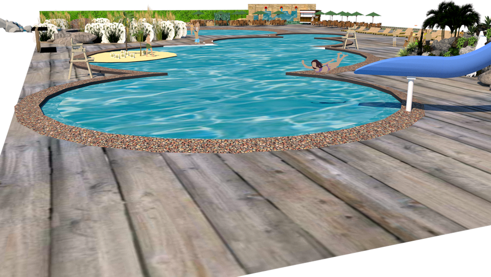 V-RAY of Sketchup, Themed Pool Deck View 6