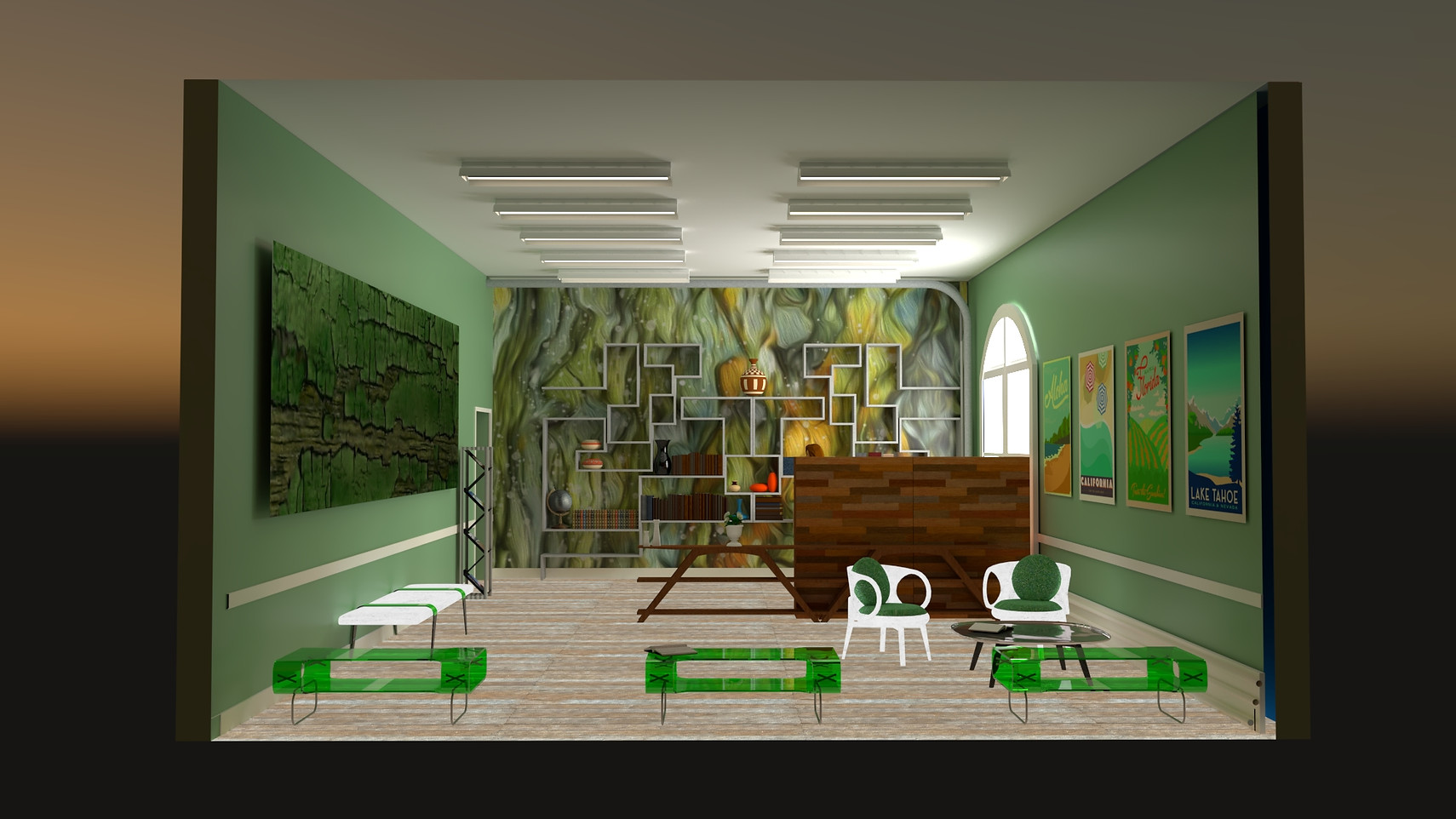 V-RAY of Sketchup, Travel Agency Left View