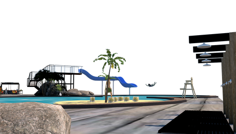 V-RAY of Sketchup, Themed Pool, Deck View 4
