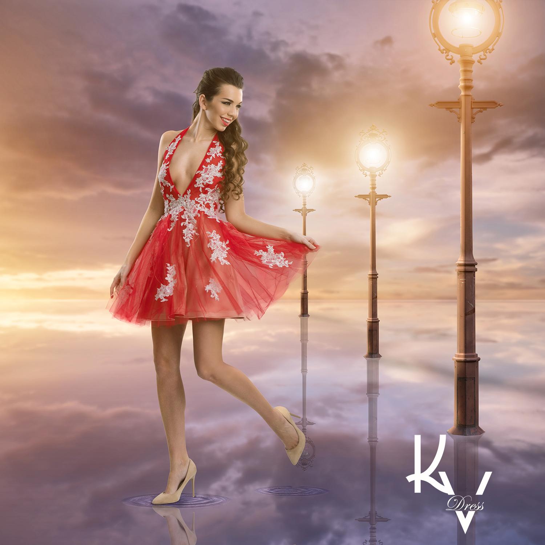 Ezüst csipkés rövid piros ruha