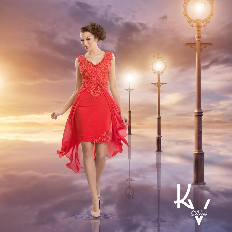 Rövidülő piros gyöngyös ruha