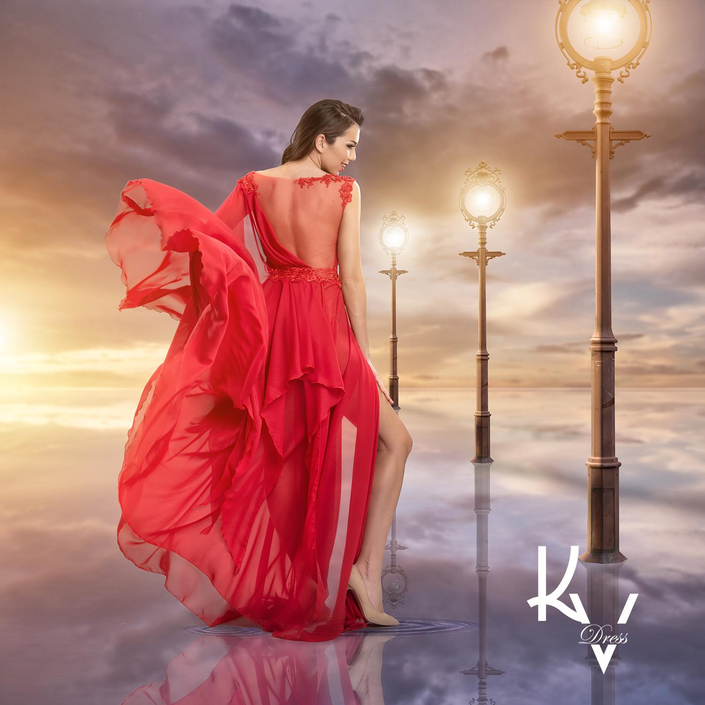 Keleti ihletésű piros ruha