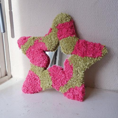 Pink & Green Cow Star MINI MIRROR