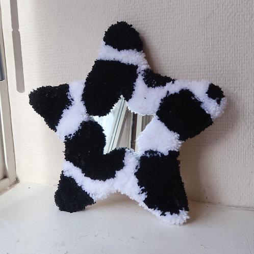 B&W Cow Star MINI MIRROR