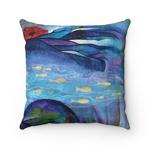 Poseidon's Muse Faux Suede Square Pillow Case