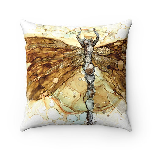 Fall Dragonfly Faux Suede Square Pillow Case