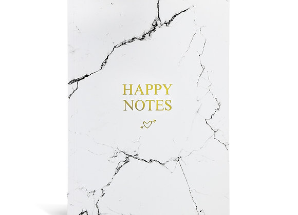 "Notizbuch ""Happy Notes"" [A5, plano mit Marmor]"