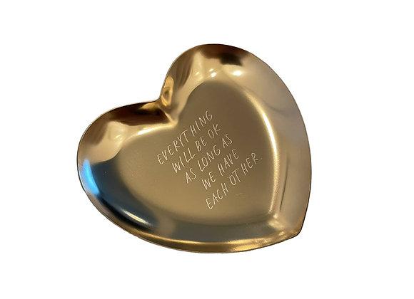 """Kleine Schale, Tablett / Bowl  """"everything will be ok"""" [Gold]"""