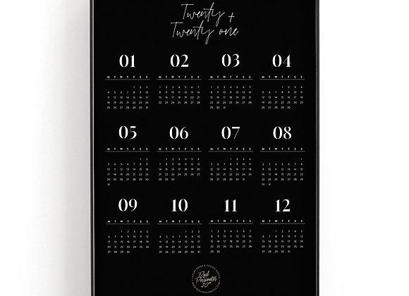 Art Print Calendar 2021 [A3, Black]